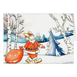 Watercolour: bunny santa claus christmas card