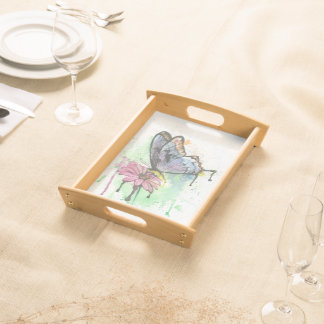 Watercolour butterfly on flower, serving tray