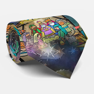 Watercolour Christmas Nativity Scene Tie