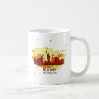 Watercolour cities: New York Basic White Mug