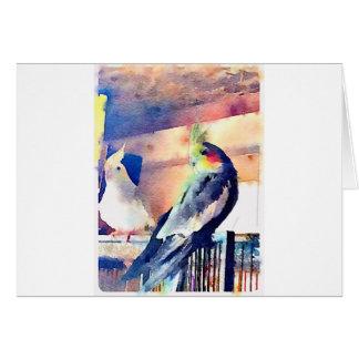 Watercolour Cockatiel Card