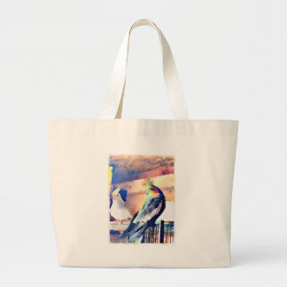 Watercolour Cockatiel Large Tote Bag