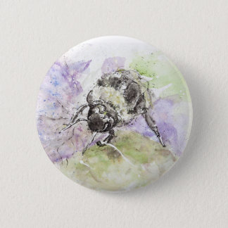 Watercolour Colourfully Bee, Badge/Pin 6 Cm Round Badge