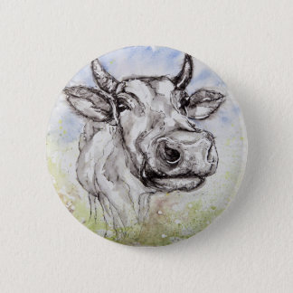 Watercolour Colourfully Cow, Badge/Pin 6 Cm Round Badge