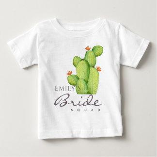 WATERCOLOUR DESERT CACTUS BRIDE SQUAD MONOGRAM BABY T-Shirt