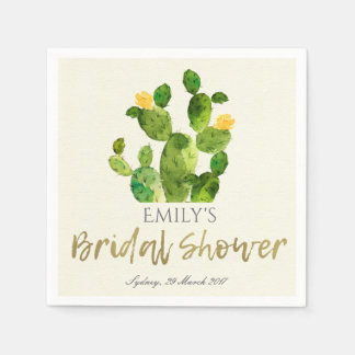 WATERCOLOUR DESERT CACTUS FLOWER BRIDAL SHOWER DISPOSABLE SERVIETTE