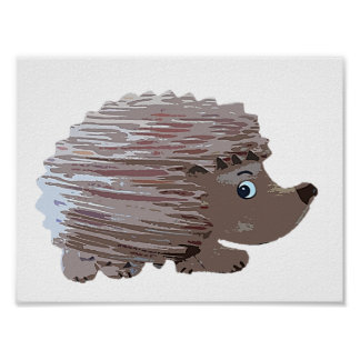 Watercolour Effect Hedgehog Poster