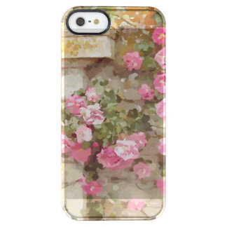 Watercolour Effect Pink Climbing Roses Clear iPhone SE/5/5s Case