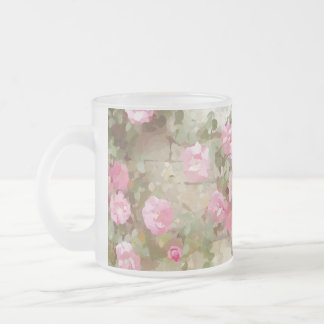 Watercolour Effect Pink Climbing Roses Frosted Glass Coffee Mug
