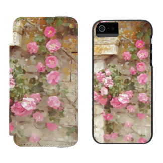 Watercolour Effect Pink Climbing Roses Incipio Watson™ iPhone 5 Wallet Case