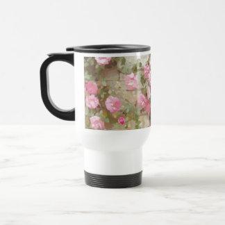 Watercolour Effect Pink Climbing Roses Stainless Steel Travel Mug