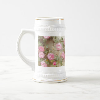 Watercolour Effect Pink Climbing Roses Beer Steins