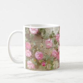 Watercolour Effect Pink Climbing Roses Basic White Mug