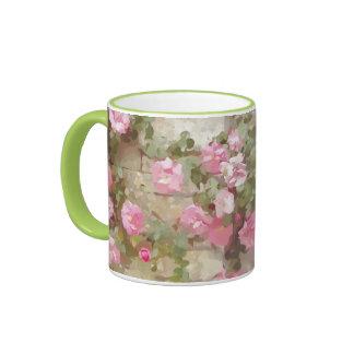 Watercolour Effect Pink Climbing Roses Ringer Mug
