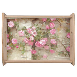 Watercolour Effect Pink Climbing Roses Serving Tray