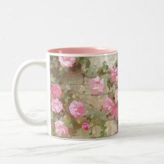 Watercolour Effect Pink Climbing Roses Two-Tone Mug