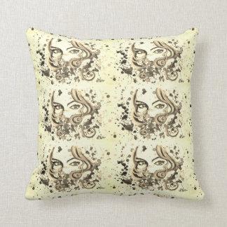 Watercolour eyes cushion