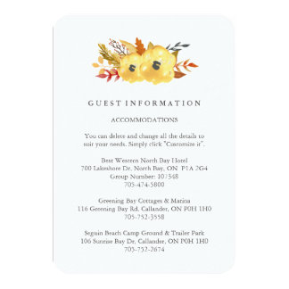 Watercolour Fall Guest Information Cards 9 Cm X 13 Cm Invitation Card
