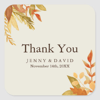 Watercolour Fall Thank You Stickers