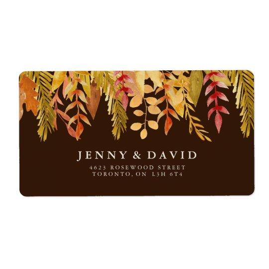 Watercolour Fall Wedding Address Labels
