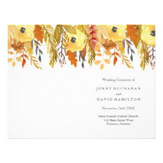 Watercolour Fall Wedding Programs 21.5 Cm X 28 Cm Flyer