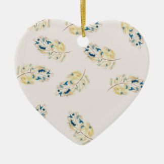 Watercolour  feather pattern ceramic heart decoration