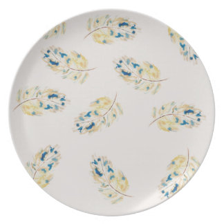 Watercolour  feather pattern dinner plates
