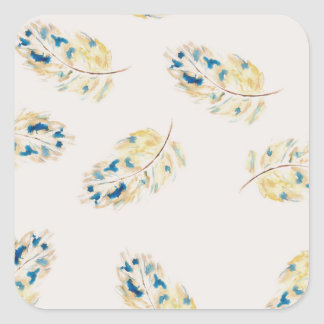 Watercolour  feather pattern square sticker