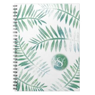 Watercolour Fern Leaves Monogram by Jo Sunshine Notebooks