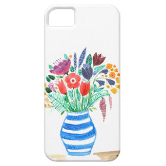 Watercolour Floral Blue Vase, Bright Flowers Case For The iPhone 5