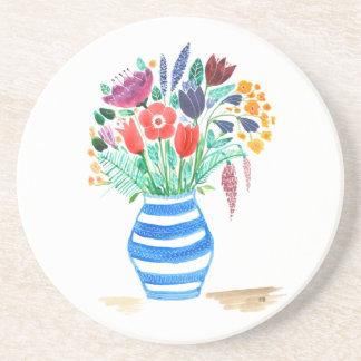 Watercolour Floral Blue Vase, Bright Flowers Coaster