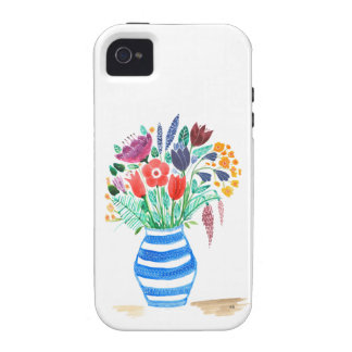 Watercolour Floral Blue Vase, Bright Flowers iPhone 4/4S Cover