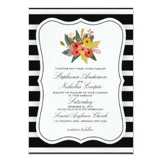 Watercolour Floral Horizontal Stripes Card