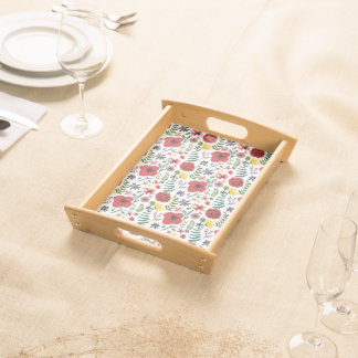 Watercolour Florals Design Serving Tray