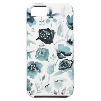 Watercolour florals in blue tough iPhone 5 case