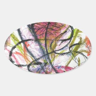 Watercolour flower oval sticker