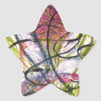 Watercolour flower star sticker