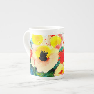 Watercolour flowers and butterfly. tea cup