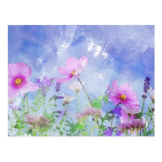 Watercolour flowers postcard