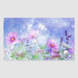 Watercolour flowers rectangular sticker