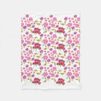 Watercolour flowers red, pinks and purple fleece blanket