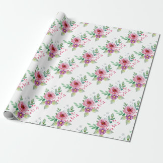 Watercolour flowers wrapping paper