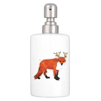 Watercolour Fox Soap Dispenser And Toothbrush Holder