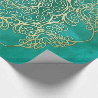 Watercolour & Gold Mandala Wrapping Paper