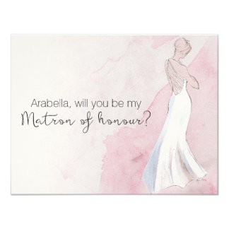 "Watercolour Gown ""Will you be my matron of honour"" Card"