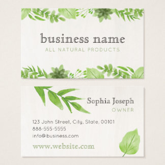 Watercolour Green Leaves Business Card
