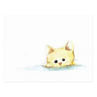 Watercolour: guilty kitty postcard
