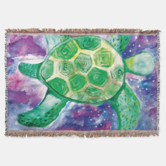 Watercolour hand painted swimming turtle throw blanket