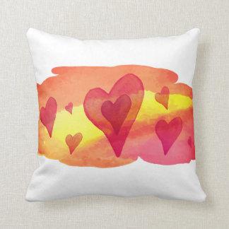 Watercolour hearts throw pillow
