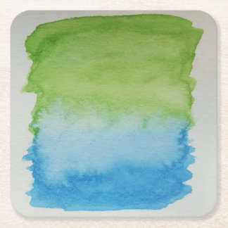 Watercolour Horizons Blue Green Coaster